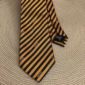 Moschino Navy and Gold Striped logo Silk Tie